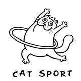 Cat aerobics with hoop. vector illustration stock photos