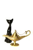 Cat and aladdin lamp Stock Photo