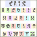 Cat alphabet. Alphabet of funny cartoon cats Stock Images