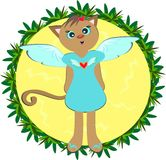 Cat Angel in Plant Frame Royalty Free Stock Image