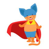 Cat Animal Dressed As Superhero With A Cape Comic Masked Vigilante Character. Part Of Fauna With Super Powers Flat Cartoon Vector Collection Of Illustrations Royalty Free Stock Photos