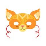 Cat Animal Head Mask rossa, elemento del costume di travestimento di carnevale dei bambini Fotografie Stock