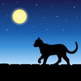 Cat animal on roof silhouette blue night moon illustration Royalty Free Stock Photos