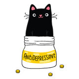 Cat and antidepressant. Stock Photo