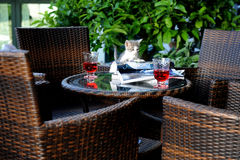 Cat aperitife. Cat on a garden table enjoing royalty free stock photography