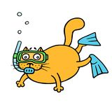 Cat aqualunger immersed in depth. Vector illustration. Cat aqualunger immersed in depth. Cute diver cartoon animal character. Vector illustration Stock Images
