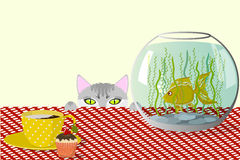 Cat, aquarium and cup. The cat watches the fish in the aquarium standing on the table, a cup of coffee with cream and a cupcake on a checkered tablecloth, vector Stock Images