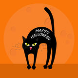 Cat arch back. Happy Halloween greeting card. Yellow eyes, fangs, curl moustaches whisker. Funny cartoon character. Big moon. Oran Stock Photos
