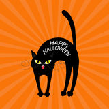 Cat arch back. Happy Halloween greeting card. Yellow eyes, fangs, curl moustaches whisker. Funny cartoon character. Isolated.  Stock Photos