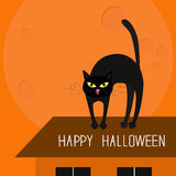Cat arch back. Kitty on roof. Yellow eyes, fangs, curl whisker. Happy Halloween card. Moon, house, windows. Funny cartoon characte Royalty Free Stock Images