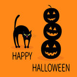 Cat arch back. Three black silhouette funny smiling pumpkins. Cute cartoon baby character. Happy Halloween. Greeting card. Orange Royalty Free Stock Images