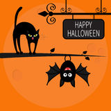 Cat arch back on tree branch. Cute hanging bat. Happy Halloween greeting card. Wrought iron sign board. Funny cartoon character. Big moon. Orange background royalty free illustration