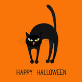 Cat arch back. Yellow eyes, fangs, curl moustaches whisker. Happy Halloween greeting card. Funny cartoon character. . Orange background. Flat design. Vector Royalty Free Stock Photos