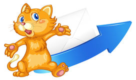 Cat arrow and envelop Stock Photo