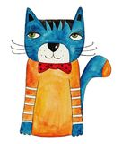 The Cat. Artwork, ink and watercolors on paper Royalty Free Stock Photos