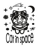 Cat astronaut. The cat in the suit of an astronaut flying in outer space among the stars , planets , comets . The cat really likes it and he`s very pleased with Royalty Free Stock Photos