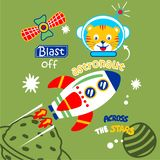 Cat the astronaut funny animal cartoon,vector illustration. For t shirt and wallpaper or book stock illustration