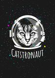 Cat astronaut in helmet. Vector illustration of a cat astronaut in cosmic helmet surrounded by the space and stars. Ink hand drawn illustration Stock Image