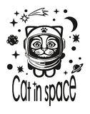 Cat astronaut in outer space. The cat in the suit of an astronaut flying in outer space among the stars , planets , comets . The cat really likes it and he`s Stock Photo