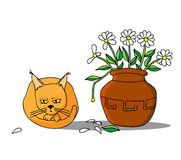 The cat ate the flowers Stock Photo