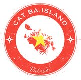 Cat Ba Island circular patriotic badge. Grunge rubber stamp with island flag, map and name written along circle border, vector illustration Stock Images