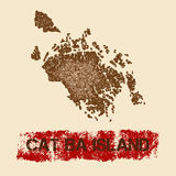 Cat Ba Island distressed map. Stock Photo