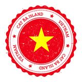 Cat Ba Island flag badge. Vintage travel stamp with circular text, stars and island flag inside it. Vector illustration Stock Photos