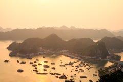 Cat Ba island in Halong Bay at sunset Royalty Free Stock Photography