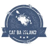 Cat Ba Island logo sign. Travel rubber stamp with the name and map of island, vector illustration. Can be used as insignia, logotype, label, sticker or badge Stock Images