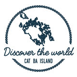 Cat Ba Island Map Outline. Vintage Discover the World Rubber Stamp with Island Map. Hipster Style Nautical Insignia, with Round Rope Border. Travel Vector Royalty Free Stock Photography