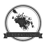 Cat Ba Island map stamp. Retro distressed insignia. Hipster round badge with text banner. Island vector illustration Royalty Free Stock Photos