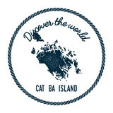 Cat Ba Island map in vintage discover the world. Royalty Free Stock Images