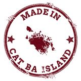 Cat Ba Island seal. Vintage island map sticker. Grunge rubber stamp with Made in text and map outline, vector illustration Stock Images