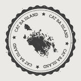 Cat Ba Island sticker. Hipster round rubber stamp with island map. Vintage passport sign with circular text and stars, vector illustration Royalty Free Stock Photo