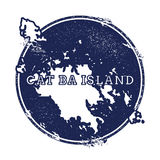 Cat Ba Island vector map. Grunge rubber stamp with the name and map of island, vector illustration. Can be used as insignia, logotype, label, sticker or badge Stock Photos
