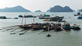 Cat Ba Island Vietnam öar i lång fjärd för mummel fotografering för bildbyråer
