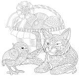 Zentangle cat and baby chicken Stock Photo