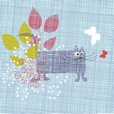 Cat background. Funny stylized background - cat and flowers stock illustration