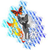 Cat on background butterfly and snowflake. Vector Royalty Free Stock Photo