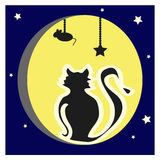 The cat on the background of the full moon. Simple illustration, silhouette of black cat that is sitting on the yellow moon, background, white stars and dark Stock Photography