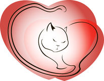 Cat on a background of red hearts. EPS10 vector illustration Stock Images