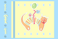 Cat on the balloon Royalty Free Stock Images