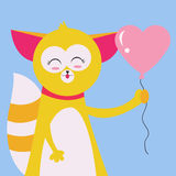 Cat with balloon Stock Photography
