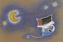 Cat on a Balloon in the Sky. Pastel drawing of a little cat floating on a blue balloon in the sky with stars and a crescent moon vector illustration