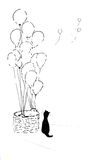Cat & Balloons. A drawing of a cat sitting next to a basket of balloons Stock Photos