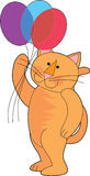 Cat with balloons. Orange marmalade cat holding a bunch of balloons Stock Image