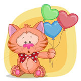Cat with baloons Stock Photography