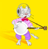 Cat with banjo Stock Photography