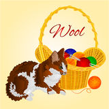 The Cat and a basket with balls of wool vector Stock Photo