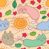 Cat bath sun cute seamless pattern